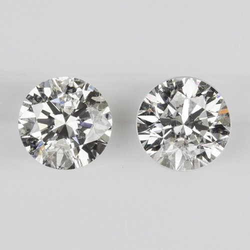 0.75ct ROUND CUT F COLOR DIAMOND STUD EARRINGS LOOSE MATCHING PAIR NATURAL 3/4CT