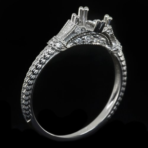 VINTAGE DIAMOND ENGAGEMENT RING SETTING ART DECO ROUND CUSHION OVAL COCKTAIL 14K