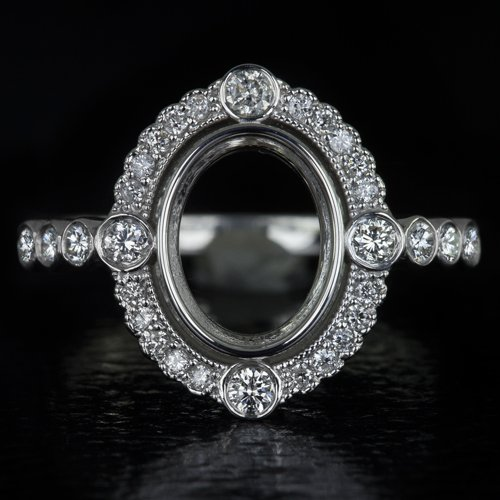 G-H VS ROUND DIAMOND OVAL HALO PLATINUM ENGAGEMENT RING SETTING COCKTAIL VINTAGE