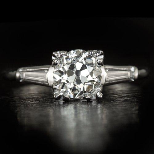 VINTAGE 20s 1.26ct G-H Si1 OLD EURO CUT DIAMOND BAGUETTE ANTIQUE ENGAGEMENT RING