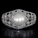 ROUND CUT DIAMOND HALO COCKTAIL VINTAGE RING PEARL SOLITAIRE FILIGREE WHITE GOLD