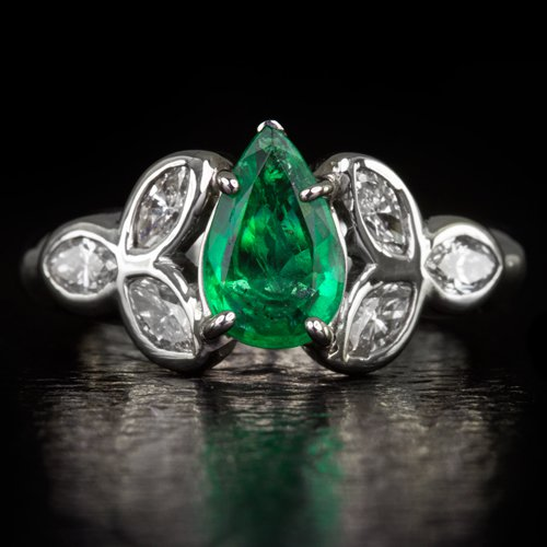 1.00ct NATURAL GREEN EMERALD DIAMOND 0.85c H VS MARQUISE PEAR COCKTAIL RING 14K