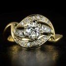 VINTAGE 3/4ct OLD EUROPEAN CUT K VS DIAMOND COCKTAIL RING 14K YELLOW GOLD RETRO