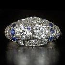 1.30c OLD EURO CUT DIAMOND SAPPHIRES 1920s DOUBLE PLATINUM COCKTAIL RING VINTAGE