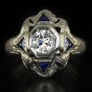 RARE ANTIQUE OLD EUROPEAN CUT DIAMOND BLUE SAPPHIRE 20K WHITE GOLD COCKTAIL RING