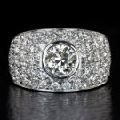 2ct VINTAGE DIAMOND CLUSTER COCKTAIL RING 1ct CENTER OLD EUROPEAN CUT BAND PAVE