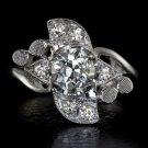 ART DECO 1 CARAT DIAMOND 0.70C OLD CUT ANTIQUE WHITE GOLD VINTAGE COCKTAIL RING