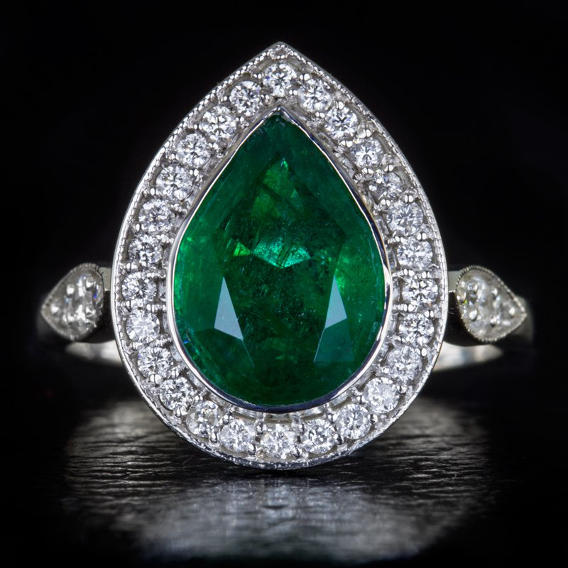 2.5ct NATURAL EMERALD DIAMOND HALO COCKTAIL RING BIG VINTAGE FILIGREE WHITE GOLD