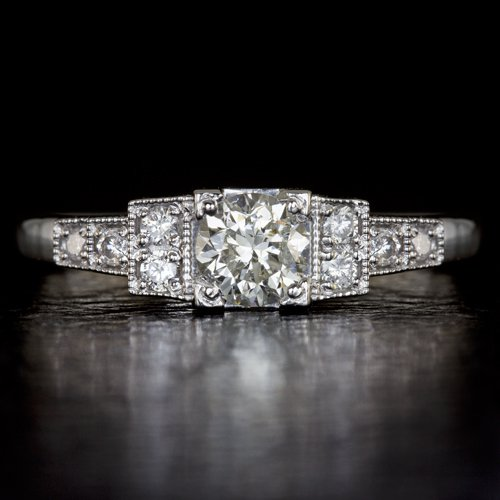 0.58CT VINTAGE OLD TRANSITIONAL CUT ART DECO DIAMOND ENGAGEMENT RING WHITE GOLD