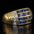 2.20ct NATURAL ROYAL BLUE  SAPPHIRE DIAMOND COCKTAIL RING 14K GOLD VINTAGE BAND
