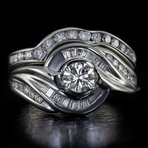1.40 NATURAL DIAMONDS IDEAL CUT 0.40CT CTR I VS WEDDING BAND SET ENGAGEMENT RING