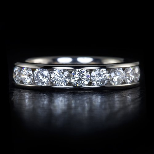 1 CARAT IDEAL CUT E SI ROUND DIAMOND WEDDING BAND STACKING COCKTAIL RING 1.00ct