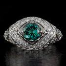 VINTAGE FANCY OCEAN BLUE DIAMOND ART DECO ENGAGEMENT COCKTAIL RING FILIGREE 14K