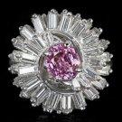4ctw F VS DIAMOND PINK SAPPHIRE PLATINUM VINTAGE BALLERINA COCKTAIL RING ANTIQUE