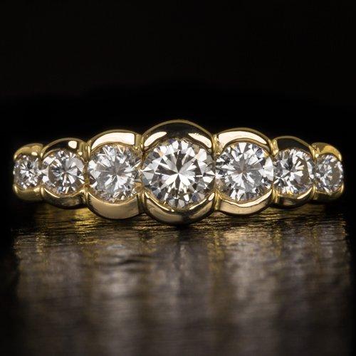 1ctw IDEAL CUT  VS ROUND DIAMOND BEZEL SET WEDDING BAND STACKING 14 GOLD RING