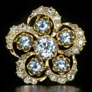 4ct VINTAGE I VS OLD MINE CUT 1.5 DIAMOND AQUAMARINE FLOWER PIN PENDANT NECKLACE