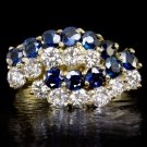 2.4 CARATS VERY WELL CUT ROUND DIAMOND COCKTAIL RING BLUE SAPPHIRES 14K GOLD 2.5
