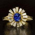 VINTAGE 1.65ct DIAMOND BLUE SAPPHIRE COCKTAIL HALO BALLERINA RING 18K GOLD RETRO