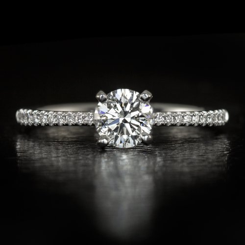 EXCELLENT CUT ROUND DIAMOND E COLOR CLASSIC PAVE ENGAGEMENT RING 14K WHITE GOLD