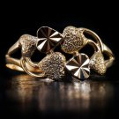 18K ROSE GOLD COCKTAIL RING HAND FINISHED FACET HEART MODERN TEXTURE LADYS BAND