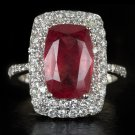 1 CARAT IDEAL CUT DIAMONDS F VS HALO ENGRAVED COCKTAIL RING 4ct NATURAL RUBY 18K
