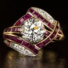 ART DECO 2ct J VS1 OLD EUROPEAN CUT DIAMOND EGL-USA RUBY ENGAGEMENT RING VINTAGE
