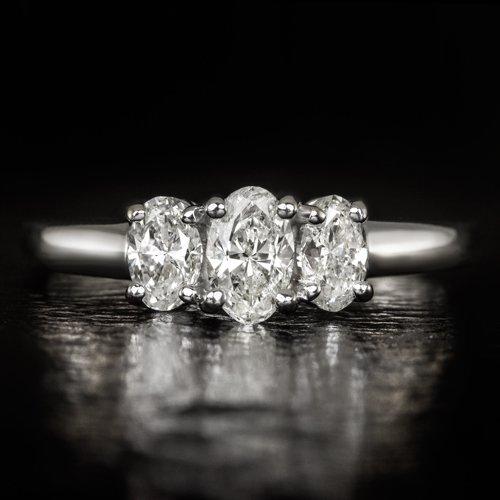 1 CARAT NATURAL DIAMOND PLATINUM ENGAGEMENT RING OVAL THREE STONE COCKTAIL 1ct