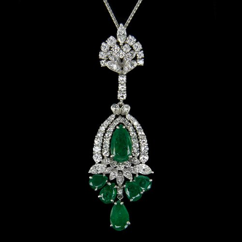LARGE 5ct DIAMONDS 10ct EMERALDS IDEAL CUT G VS MARQUISE PEAR NECKLACE 16 GRAMS