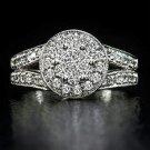 DIAMOND ENGAGEMENT RING F COLOR 0.89c CLUSTER HALO VG CUT COCKTAIL MILGRAIN 14K