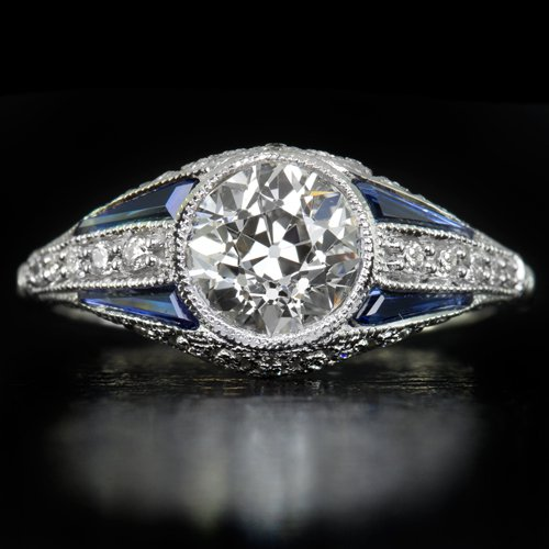 VINTAGE H VS1 OLD EURO CUT DIAMOND 1.23ctr EGL-USA CERT SAPPHIRE ENGAGEMENT RING