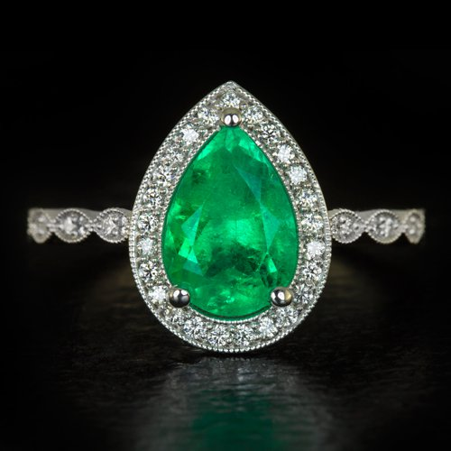 2.4ct COLOMBIAN EMERALD MUZO PEAR SHAPE VINTAGE DIAMOND HALO ENGAGEMENT RING 3ct