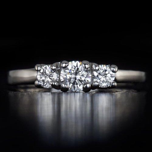 IDEAL TRIPLE EXCELLENT CUT H VS1 ROUND DIAMOND ENGAGEMENT RING PLATINUM WEDDING