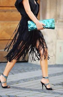 Zara bloggers favourite double fringe skirt black M&L available