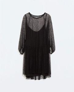 Bloggers Fav Zara Woman mesh Studio Dress BNWT 2015 S/S Black m