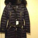 Zara Long Faux Fur Hood Coat with belt BNWT Black XS