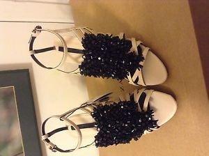 Zara woman Jewel high heels BNWT 9 US beige