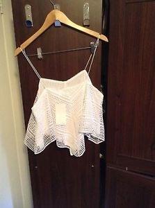 Zara woman white Ghingham Embroidered spaghetti strap top BNWT S & M