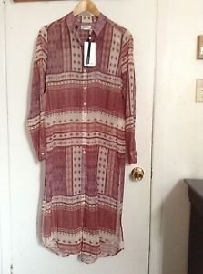Zara woman long chiffon shirt with side slits available in sizes S & M, BNWT