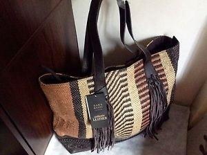 Zara fringe leather  shopper bag with tassels BNWT