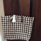 ZARA WOVEN FABRIC SHOPPER BAG  BNWT ecru/black