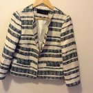 Zara Zipped Striped Blazer Jacket green/Ecru BNWT L