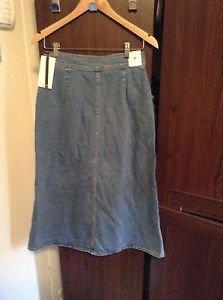 Zara Bloggers Fav Button Down Long Denim/Jeans Skirt BNWT M blue