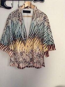 Zara woman Printed Kimono BNWT green/yellow 2015 collection M