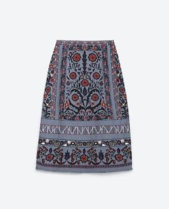Zara woman multicoloured MID LENGTH EMBROIDERED. SKIRT M BNWT rrp $100 up
