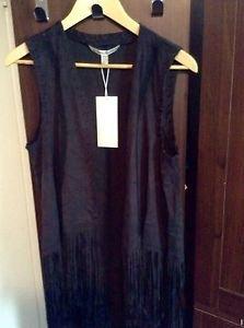 Zara woman faux Suede  vest waistcoat with Fringing  M BNWT black