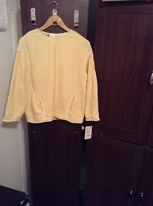 ZARA WOMAN TOP WITH CONTRAST PIPED POCKETS BNWT YELLOW XS