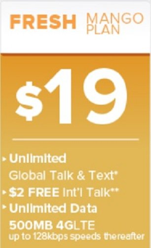 Brand New Mango Mobile Triple-Cut SIM Card $19 Ripe Mango Plan 1 Month Included