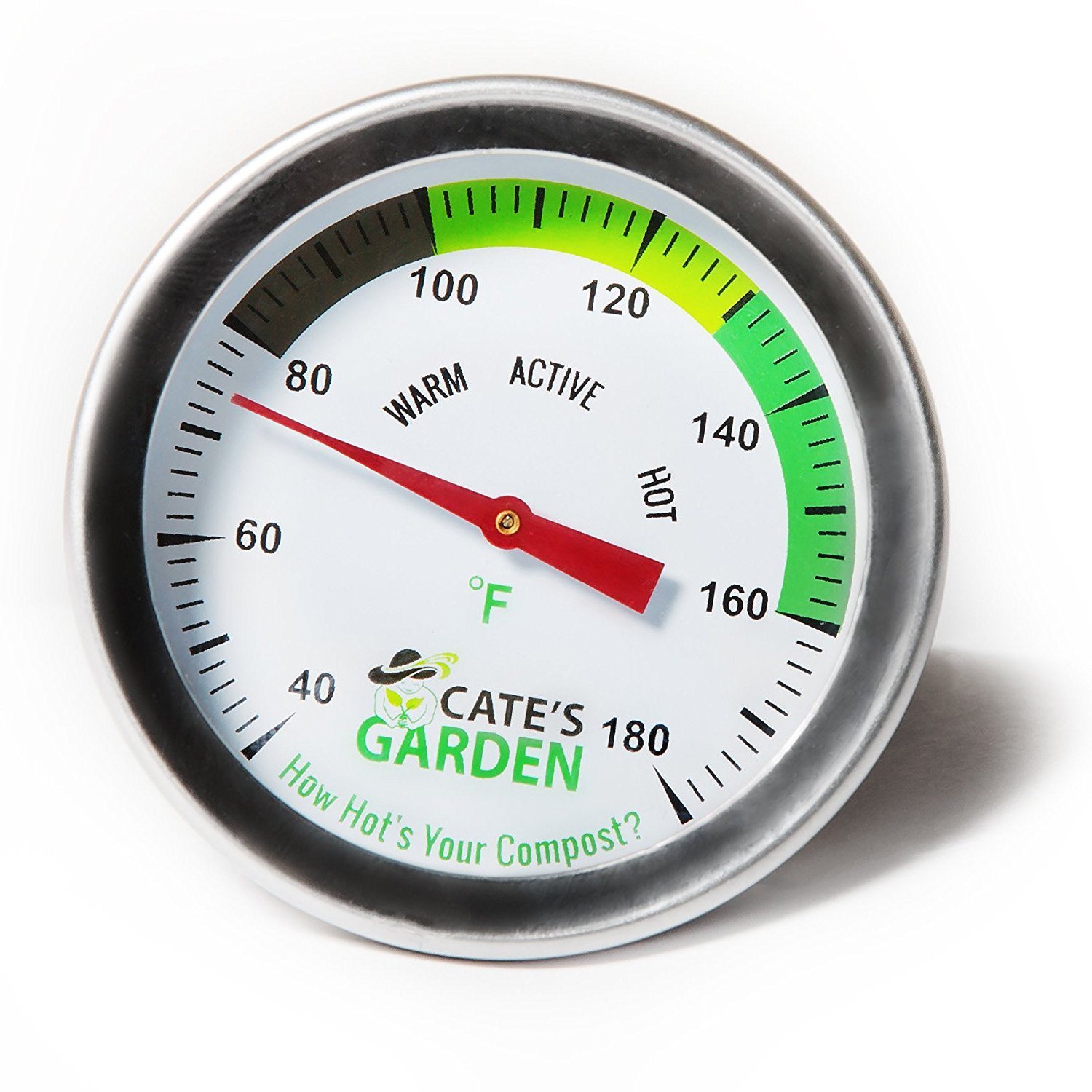 Compost Thermometer - Cate's Garden Premium Stainless Steel Bimetal