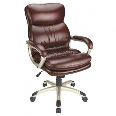 Realspace Broward Faux Leather High-Back Chair, Brown/Silver