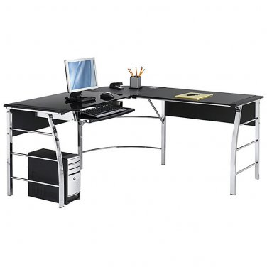 "Realspace Mezza ""L""-Shaped Glass Computer Desk, 30""H x 61 1/2""W x 61 1/2""D, Black/Chrome"